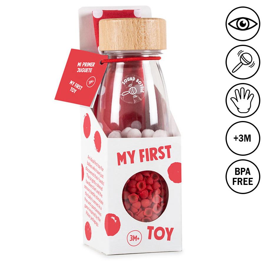 """Moje první hračka """"Polka & Pikler"""" (zvuková lahev 250ml + taktilní šátek 35 x 35cm)"""